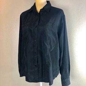 DVF Black Button Down Blouse Medium Vintage